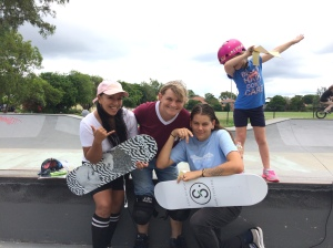 Girls Skate Brisbane co-founders Indi, Evie and Tora
